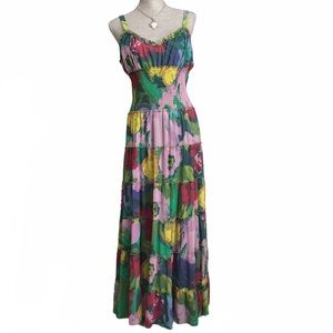 Spense Tiered Ruffle Floral Sleeveless Maxi Dress